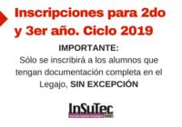 Inscripciones para 2do y 3er año. Ciclo 2019