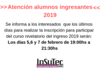 Últimos días de inscripciones al ingreso 2019