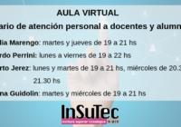 Horarios de atención personal por consultas Aula Virtual