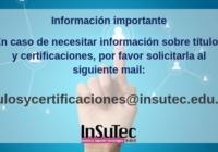 Mail de contacto Títulos y certificaciones